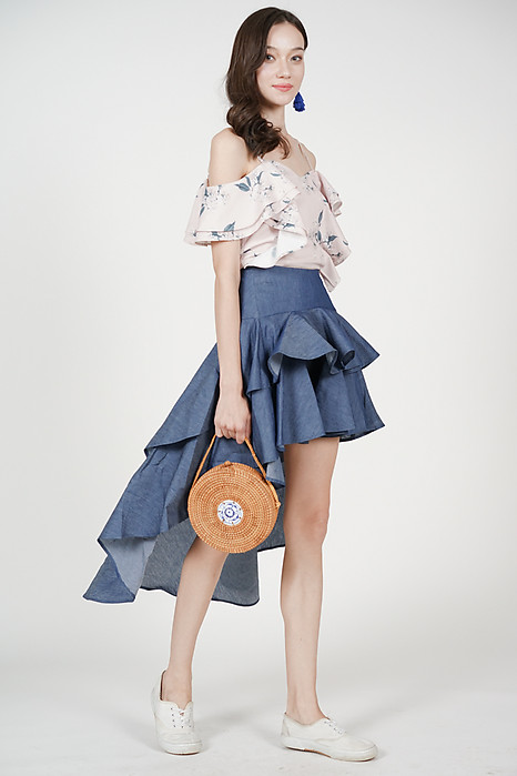 Asymmetrical Ruffled Skirt in Denim