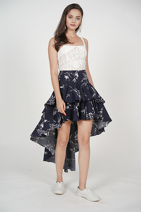 Layered Asymmetrical Skirt in Navy Floral