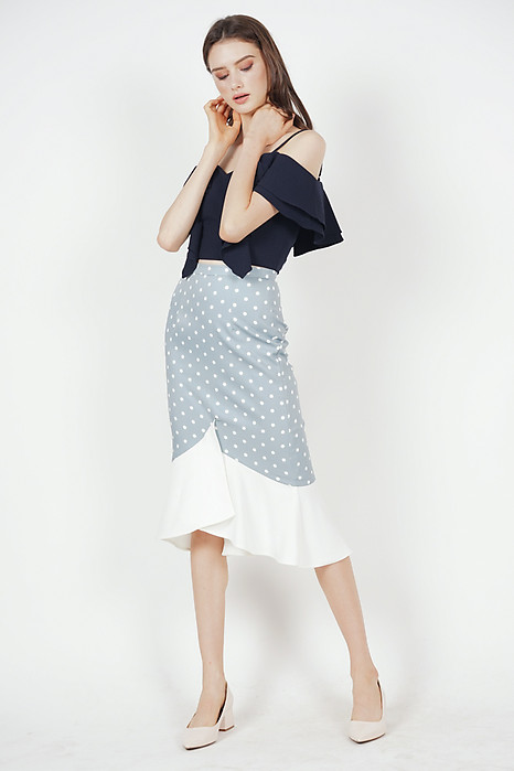 Color-Block Mermaid Skirt in Ash Blue Polka Dots