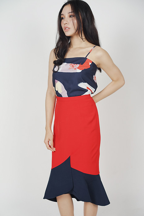 Color-Block Mermaid Skirt in Red