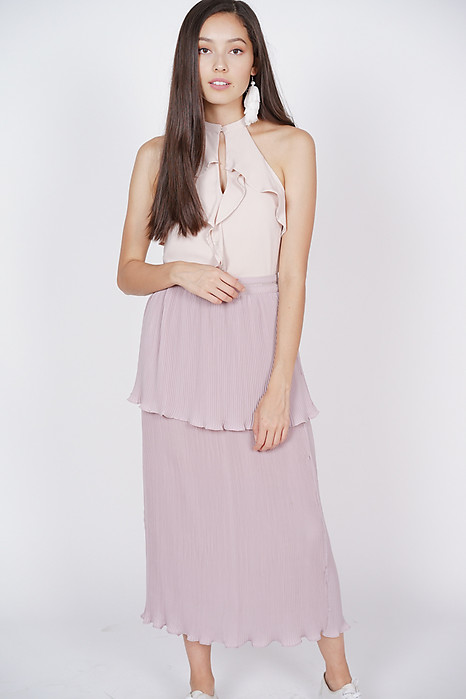 Pleated Ruffles Skirt in Mauve
