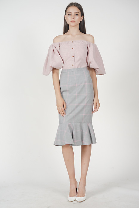 Contemporary Mermaid Skirt in Grey Pink
