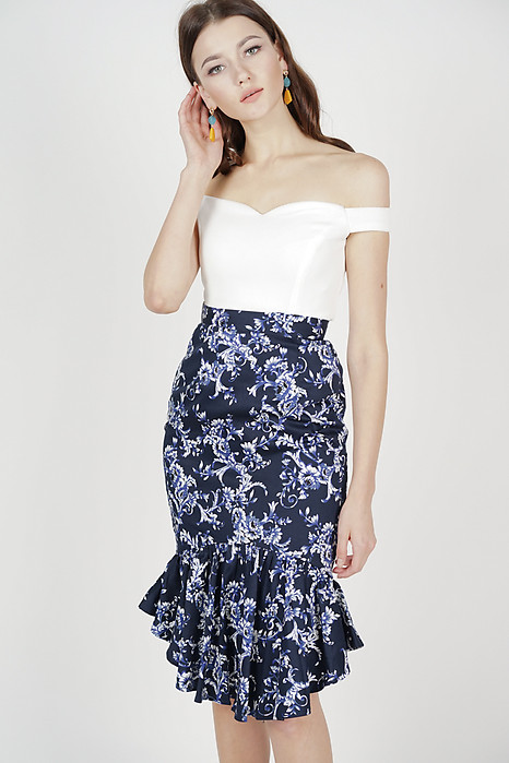 Donella Mermaid Skirt in Midnight Floral
