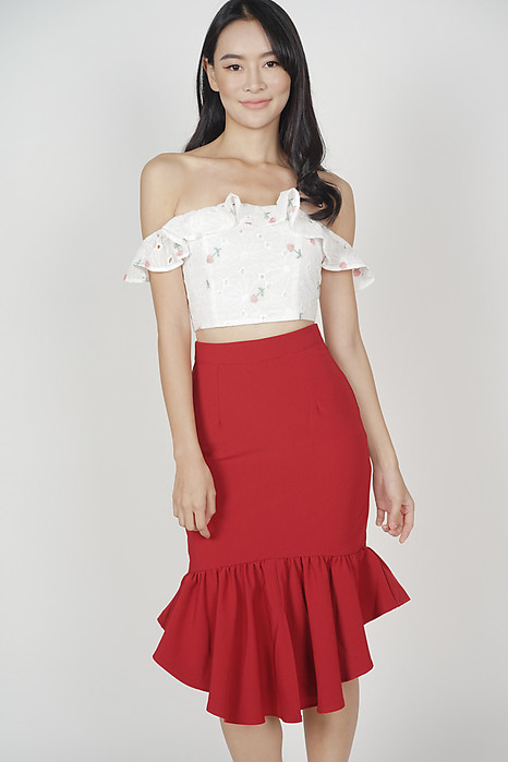 Donella Mermaid Skirt in Red