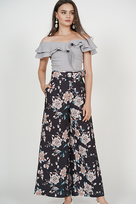 Oriana Wide-Leg Pants in Black Floral