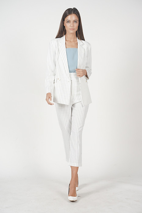 Contemporary Straight Pants in White Stripes
