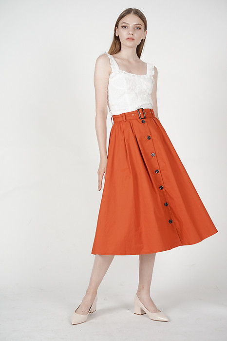Buttoned Flare Skirt in Rust