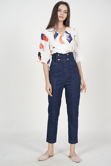 Buttoned High Waist Pants in Denim