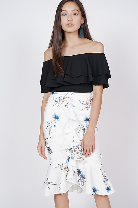 Poppy Ruffled Skirt in White Floral