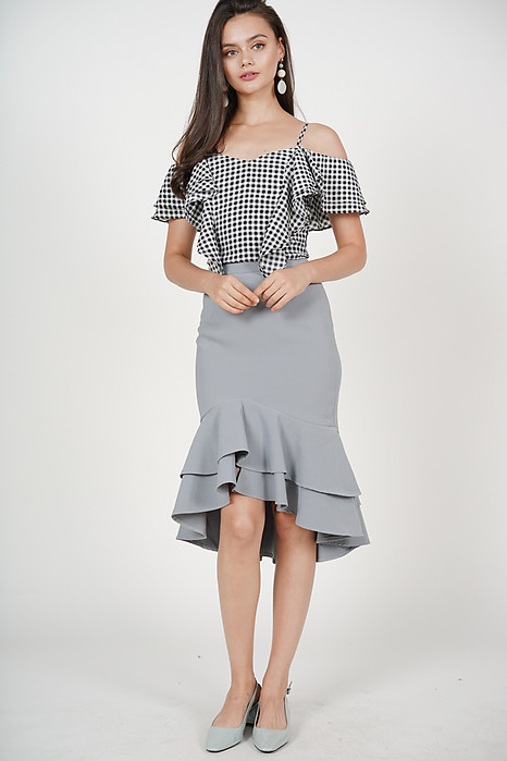 Sebelle Mermaid Skirt in Ash Blue