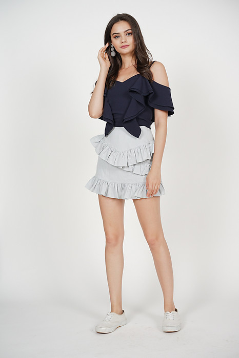 Tiered Ruffled Skorts in Pastel Blue Checks