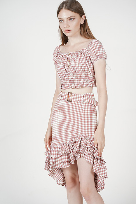 Nahla Ruffled-Hem Skirt in Mauve Gingham