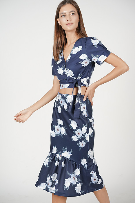 Kalina Floral Skirt in Navy