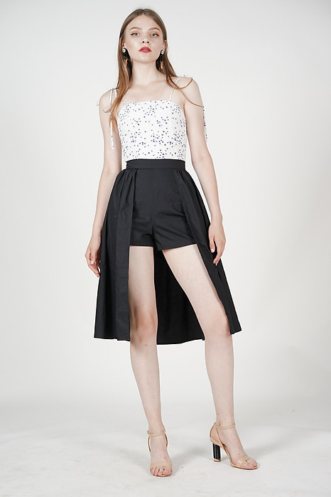 High-Low Overlay Shorts in Black