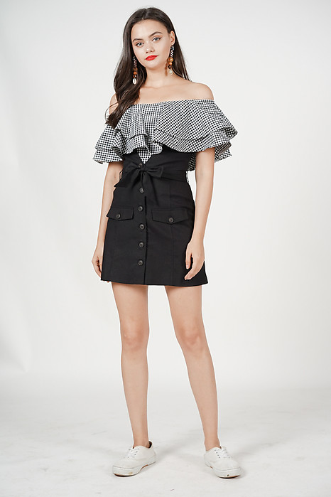 Buttoned Paper Bag Skirt in Black