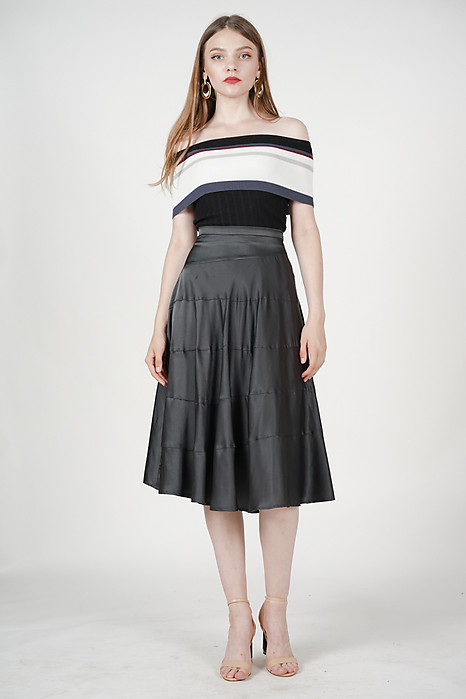 Tiered Maxi Skirt in Charcoal