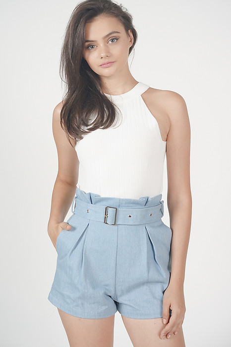 Nelli Pleated Denim Shorts in Light Blue