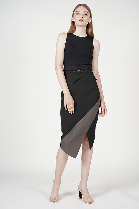 Buckled Flap-Over Skirt in Black