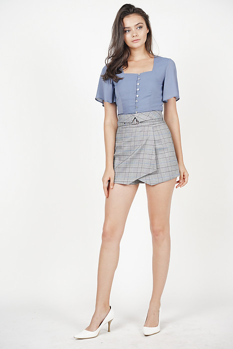 Aera Buckled Skorts in Grey Blue