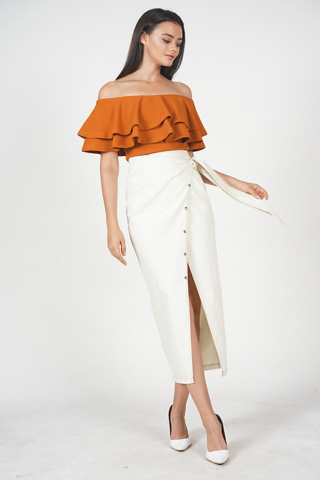 Miley Tie Skirt in Off White