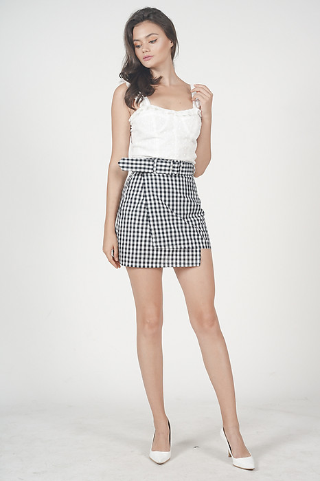 Overlay Buckled Mini Skirt in Black Gingham