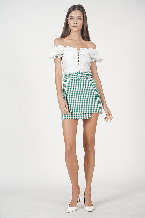 Overlay Buckled Mini Skirt in Green Gingham