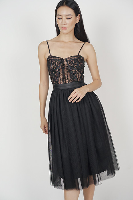 Gathered Tulle Skirt in Black - Arriving Soon