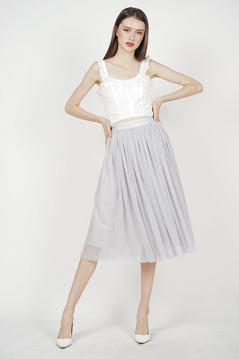 Gathered Tulle Skirt in Grey