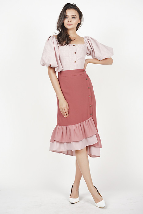 Jerica Button-Down Skirt in Dark Mauve - Arriving Soon