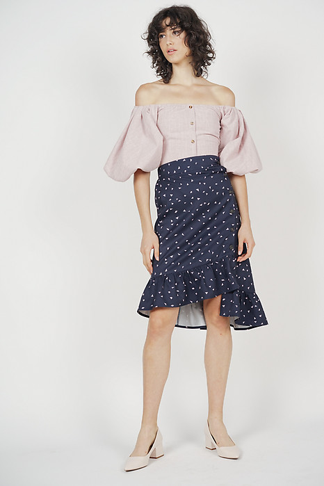 Diallea Button-Down Skirt in Midnight