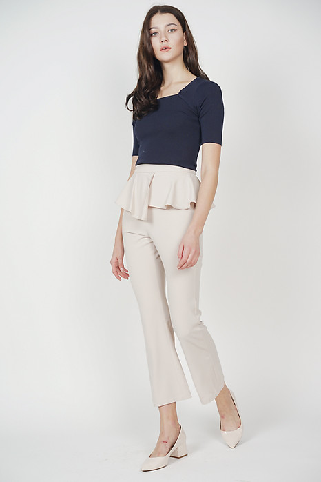 Asymmetrical Peplum Pants in Khaki