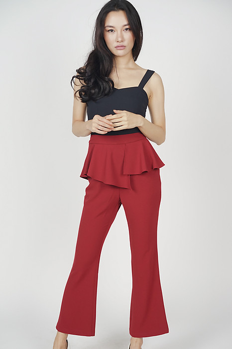 Asymmetrical Peplum Pants in Oxblood