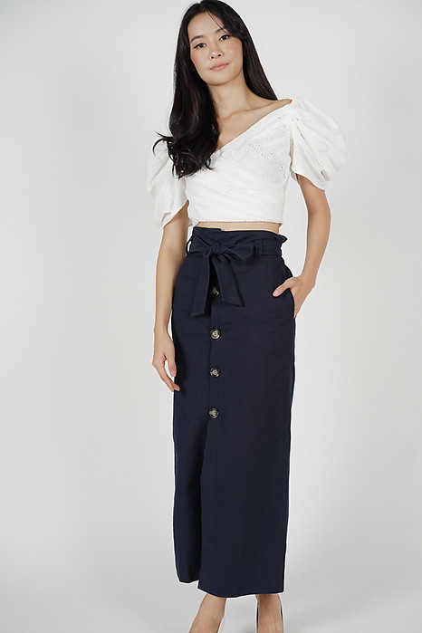 Paper Bag Midi Skirt in Midnight - Online Exclusive