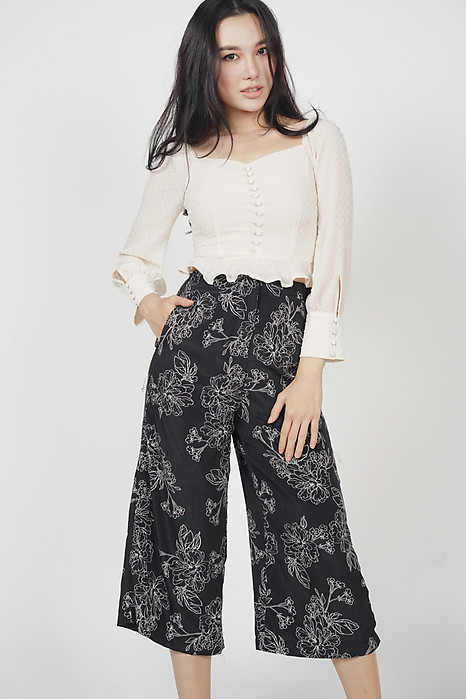 Landi Flare Pants in Black Floral