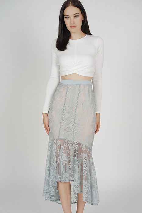 Izalea Lace Skirt in Ash Blue