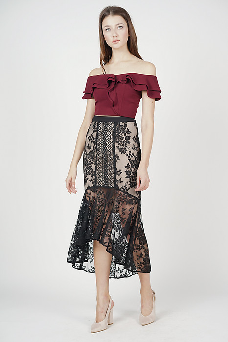 2723de2ec2 Izalea Lace Skirt in Black - Arriving Soon