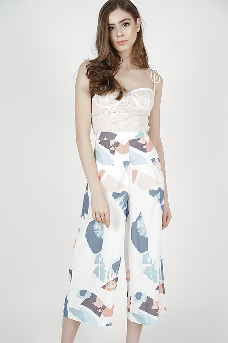 Mandrie Flare Culottes in White Brush