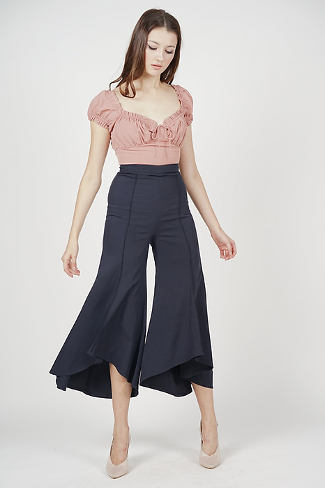 Uneven Flare Hem Pants in Midnight