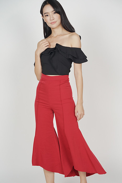 Uneven Flare Hem Pants in Red