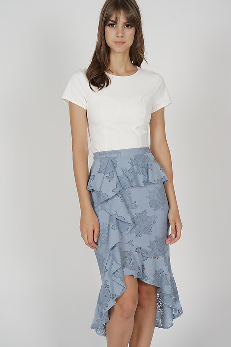 Leora Ruffled Skirt in Ash Blue - Arriving Soon