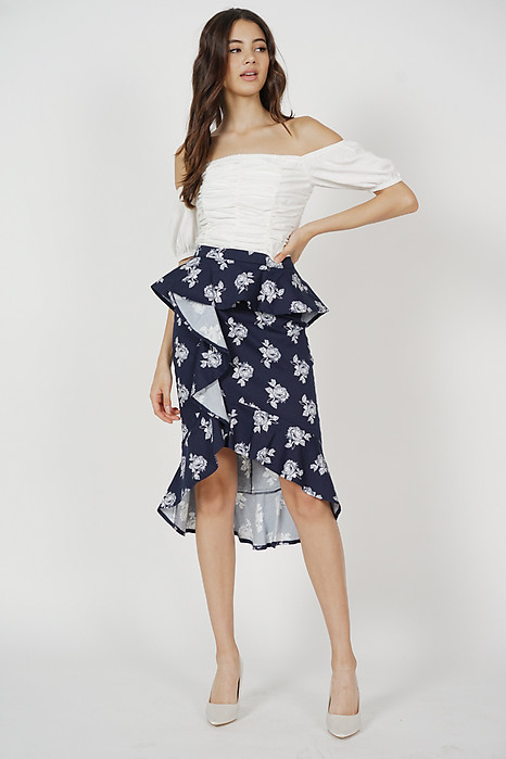 Leora Ruffled Skirt in Midnight Floral