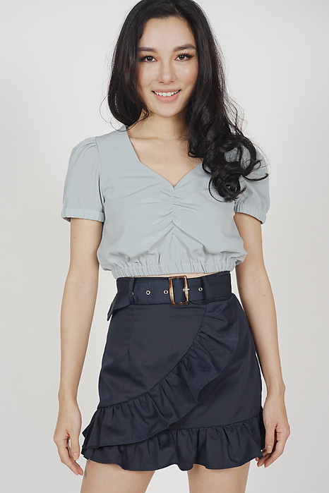 Chica Ruffled Mini Skirt in Midnight