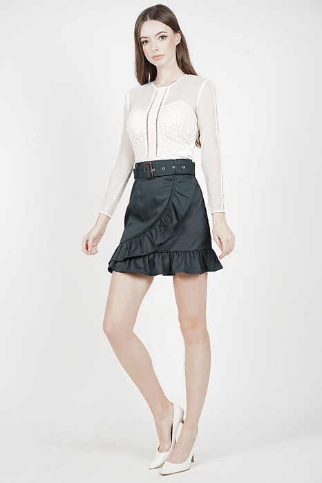 Chica Ruffled Mini Skirt in Forest Green - Arriving Soon