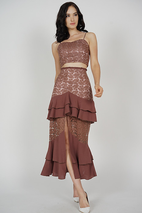 Felicia Ruffled Slit Skirt in Brown - Arriving Soon