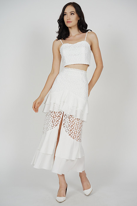 Felicia Ruffled Slit Skirt in White