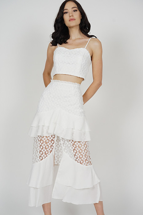 Felicia Ruffled Slit Skirt in White - Arriving Soon