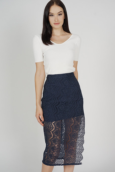 Dorcia Lace Skirt in Midnight