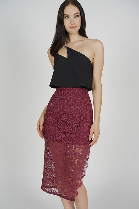Dorcia Lace Skirt in Oxblood - Arriving Soon