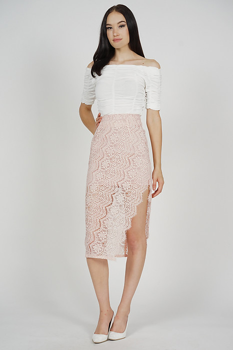 Dorcia Lace Skirt in Pink - Arriving Soon
