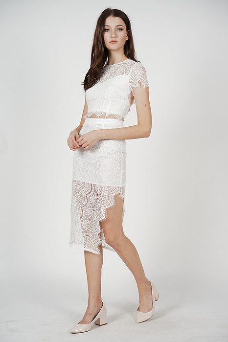 Dorcia Lace Skirt in White - Arriving Soon